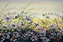 Daisy Meadow IV by Maya Eventov - Original Painting on Box Canvas sized 36x24 inches. Available from Whitewall Galleries